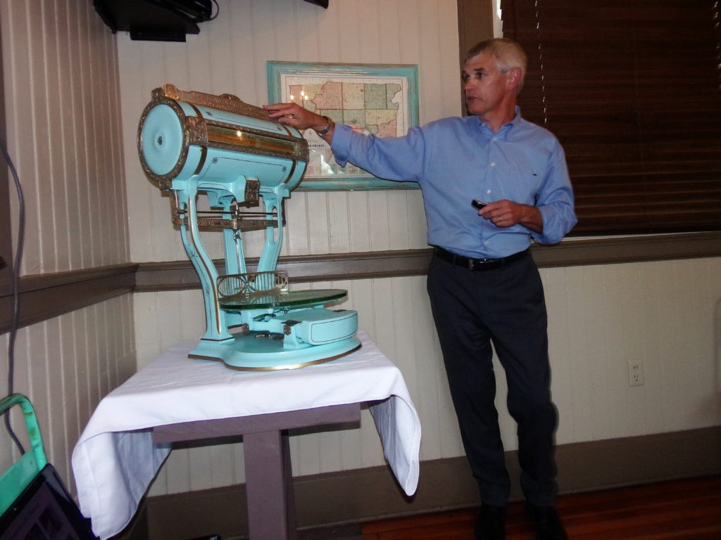 This century old scale is a new addition to the Miller House Museum, located in the railroad room. Dave Bulman, a Madeira Historical Society member and resident, refurbished the scale for the museum.